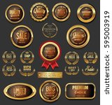 golden badges and labels with... | Shutterstock .eps vector #595003919