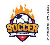 soccer championship logo ... | Shutterstock .eps vector #595013681