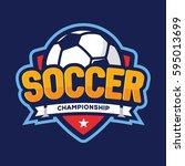 soccer championship logo ... | Shutterstock .eps vector #595013699