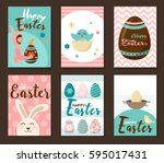 banner templates. happy easter  ... | Shutterstock .eps vector #595017431