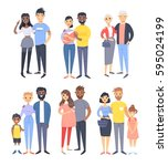 set of different couples and... | Shutterstock .eps vector #595024199