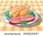 dish with beef steak and... | Shutterstock .eps vector #595025597