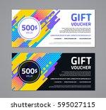 gift voucher template with... | Shutterstock .eps vector #595027115