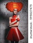 beauty portrait. hairstyle.... | Shutterstock . vector #595027475