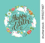 happy easter greeting card.... | Shutterstock .eps vector #595027487
