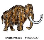 Постер, плакат: painted mammoth on white