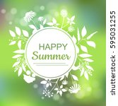 happy summer green card design... | Shutterstock .eps vector #595031255