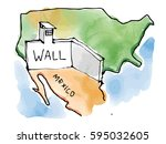 mexico usa wall by trump ... | Shutterstock . vector #595032605