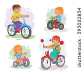 set of icons small children on... | Shutterstock . vector #595032854
