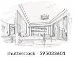 sketch streaks bedroom  black... | Shutterstock .eps vector #595033601