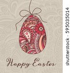 easter greeting card vector... | Shutterstock .eps vector #595035014