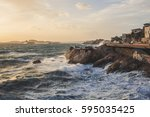 marseille storm of mistral on... | Shutterstock . vector #595035425