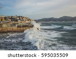 marseille storm of mistral on... | Shutterstock . vector #595035509