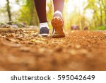 woman walking cross country and ...   Shutterstock . vector #595042649