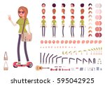 teenager girl character... | Shutterstock .eps vector #595042925