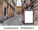 Small photo of Small red blank billboard for media business advert on street