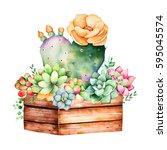 watercolor handpainted... | Shutterstock . vector #595045574