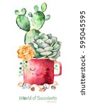 watercolor handpainted... | Shutterstock . vector #595045595