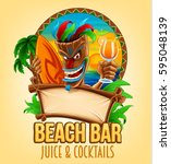 summer beach bar illustration | Shutterstock .eps vector #595048139