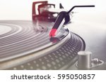 retro party dj turntables to... | Shutterstock . vector #595050857