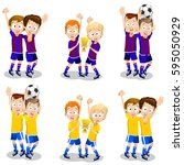 set of football player... | Shutterstock .eps vector #595050929