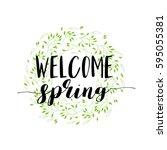 hello spring lettering hand... | Shutterstock .eps vector #595055381