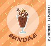illustration  chocolate sundae... | Shutterstock .eps vector #595055654