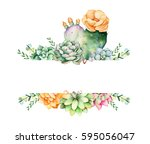colorful floral frame with... | Shutterstock . vector #595056047