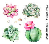 watercolor collection with... | Shutterstock . vector #595064969
