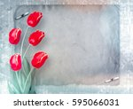 Bouquet Of Red Tulips With...
