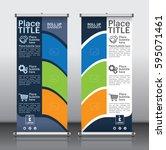 roll up brochure flyer banner... | Shutterstock .eps vector #595071461