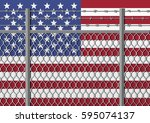 metal fence with barbed wire on ... | Shutterstock .eps vector #595074137
