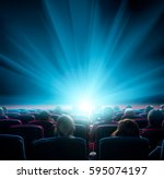 viewers watch shining light at... | Shutterstock . vector #595074197
