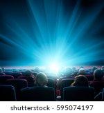 viewers watch shining light at... | Shutterstock . vector #595074197
