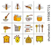 set of linear icons beekeeping. ... | Shutterstock .eps vector #595087721