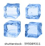 cubes of ice on a white... | Shutterstock . vector #595089311