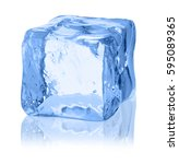 cubes of ice on a white... | Shutterstock . vector #595089365