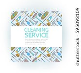 design template of cleaning... | Shutterstock .eps vector #595093109