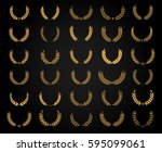 vector wheat wreath set. golden ... | Shutterstock .eps vector #595099061
