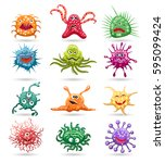 germs cartoon characters... | Shutterstock .eps vector #595099424