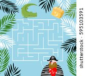 labyrinths. find the treasure.... | Shutterstock .eps vector #595103591