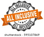 all inclusive. stamp. sticker.... | Shutterstock .eps vector #595107869