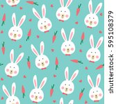 seamless pattern with rabbit.... | Shutterstock .eps vector #595108379