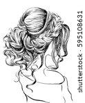 fashion women wedding hairstyle | Shutterstock .eps vector #595108631