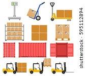 forklift. scales for large... | Shutterstock .eps vector #595112894