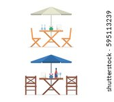 outdoor table and chairs under... | Shutterstock .eps vector #595113239
