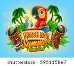 summer vacation illustration... | Shutterstock .eps vector #595115867