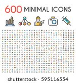 set of 600 minimalistic solid... | Shutterstock .eps vector #595116554
