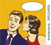 woman whisper to a businessman  ...   Shutterstock . vector #595124501