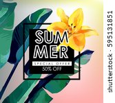 floral flayer or discount... | Shutterstock .eps vector #595131851